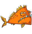 Big angry fish cartoon vector image