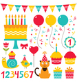 Birthday party set vector | Price: 1 Credit (USD $1)