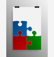 blue red green puzzle pieces - jigsaw - vector image