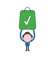 businessman character holding up shopping bag vector image vector image