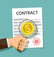 businessman studies contract vector image
