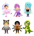 cartoon of cute kids in animal costumes set vector image vector image