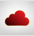cloud sign red icon on gold vector image vector image