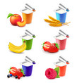 colorful yogurt cups with fruits 3d realistic set vector image vector image