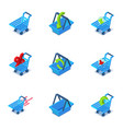 crate icons set isometric style vector image vector image
