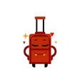 delighted happy suitcase cartoon character with vector image vector image