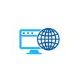 desktop globe logo icon design vector image vector image