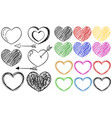 different doodle designs of heart shapes vector image vector image