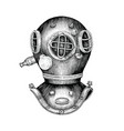 diving helmet hand drawing vintage style vector image
