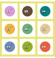 flat icons set of Business pie chart on trolley vector image vector image