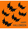 Flying cute bat family Happy Halloween card Flat vector image