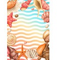 frame with seashells tropical underwater mollusk vector image vector image
