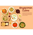 Fresh singaporean seafood dinner flat icon vector image vector image