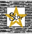 Golden Star on striped background vector image