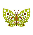 Green butterfly with open wings vector image