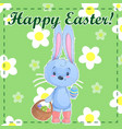 greeting post card template happy easter with cute vector image