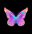 hand drawn butterfly in bright neon colors han vector image vector image