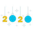 hanging numbers and chrismas balls 2020 new year vector image vector image