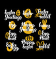 happy easter hand drawn quotes vector image vector image