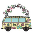 hippie van with floral print and flowers crown vector image vector image