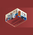 home garage interior banner isometric style vector image