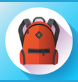 icon bright red school or travel backpack vector image vector image