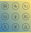 landscape icons line style set with clean air vector image vector image
