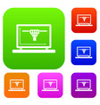 laptop with 3d design set color collection vector image vector image