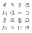 man clothes signs black thin line icon set vector image vector image