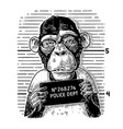 monkeys in a t-shirt holding a police department vector image vector image