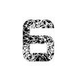 number six symbol 6 textured font grunge design vector image vector image