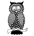 original artwork of owl ink hand drawing in ethnic vector image