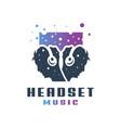 people wearing music headset logo vector image vector image