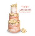 pink wedding cake with flowers watercolor vector image vector image