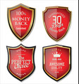 premium quality gold and red shield set vector image vector image