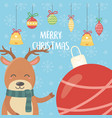 reindeer with balls decoration merry christmas vector image vector image