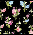 Seamless pattern of siringa and galantus flowers
