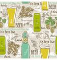 Seamless patterns with set of beer bottle mug hop vector image vector image
