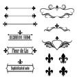 set calligraphic flourish design elements vector image vector image