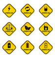 set of hybrid car caution stickers save energy vector image vector image