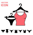 set of lingerie icon on white background modern vector image