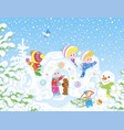 small children playing in a snow fortress vector image vector image