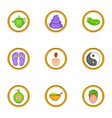 spa icons set cartoon style vector image vector image