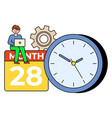 time management man working on laptop vector image vector image