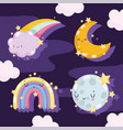 weather cute rainbows whole and half moon stars vector image vector image