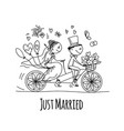 wedding card design bride and groom riding on vector image vector image