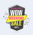 weekend sale banner template in flat trendy vector image vector image
