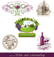 wine winemaking emblems vector image vector image