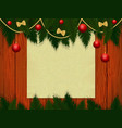 wooden wall with christmas decor vector image vector image