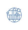 World economic growth line icon concept world